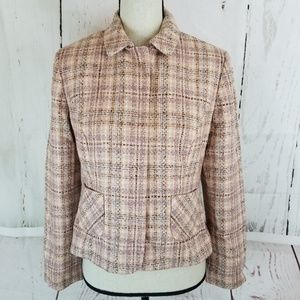 Ann Taylor LOFT Blazer Sz 8P Pink Brown Plaid
